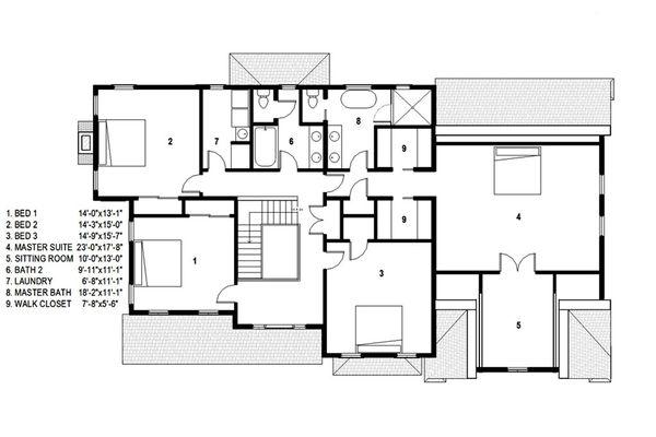 Traditional Style House Plan - 4 Beds 2.5 Baths 4279 Sq/Ft Plan #497-46 Floor Plan - Upper Floor Plan