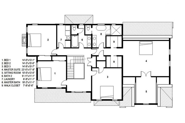 Traditional Floor Plan - Upper Floor Plan Plan #497-46