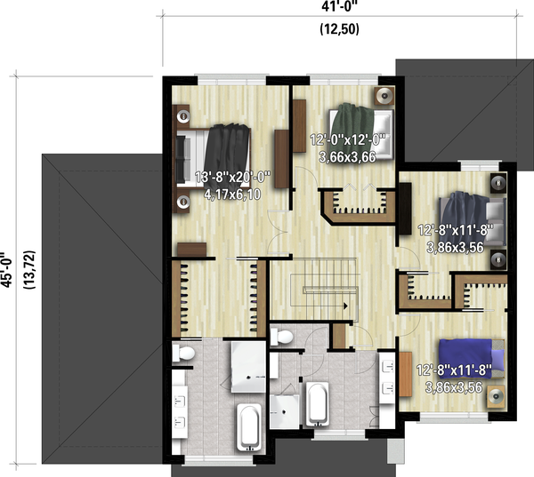 Dream House Plan - Contemporary Floor Plan - Upper Floor Plan #25-4910