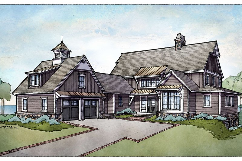 Country Style House Plan - 4 Beds 4 Baths 3785 Sq/Ft Plan #928-322 Exterior - Front Elevation