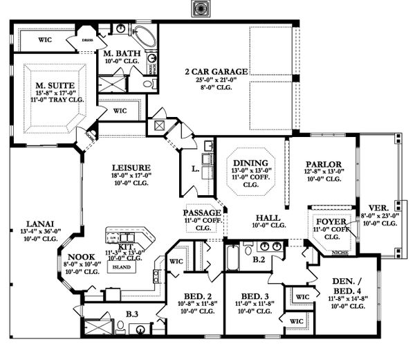 Ranch Floor Plan - Main Floor Plan Plan #1058-166