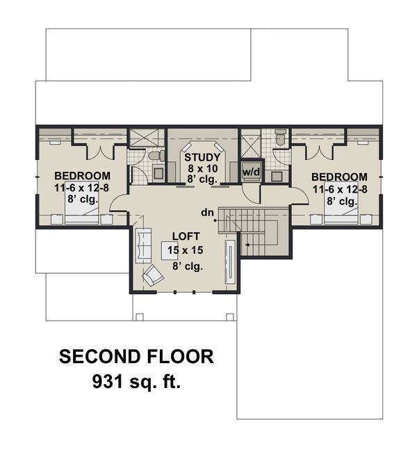 Farmhouse Floor Plan - Upper Floor Plan Plan #51-1146