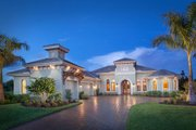 Mediterranean Style House Plan - 4 Beds 4.5 Baths 6035 Sq/Ft Plan #27-461 Exterior - Front Elevation