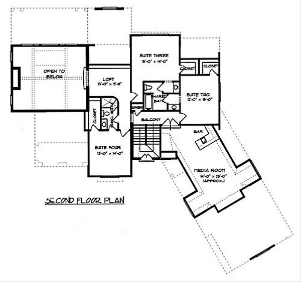 European Floor Plan - Upper Floor Plan Plan #413-133