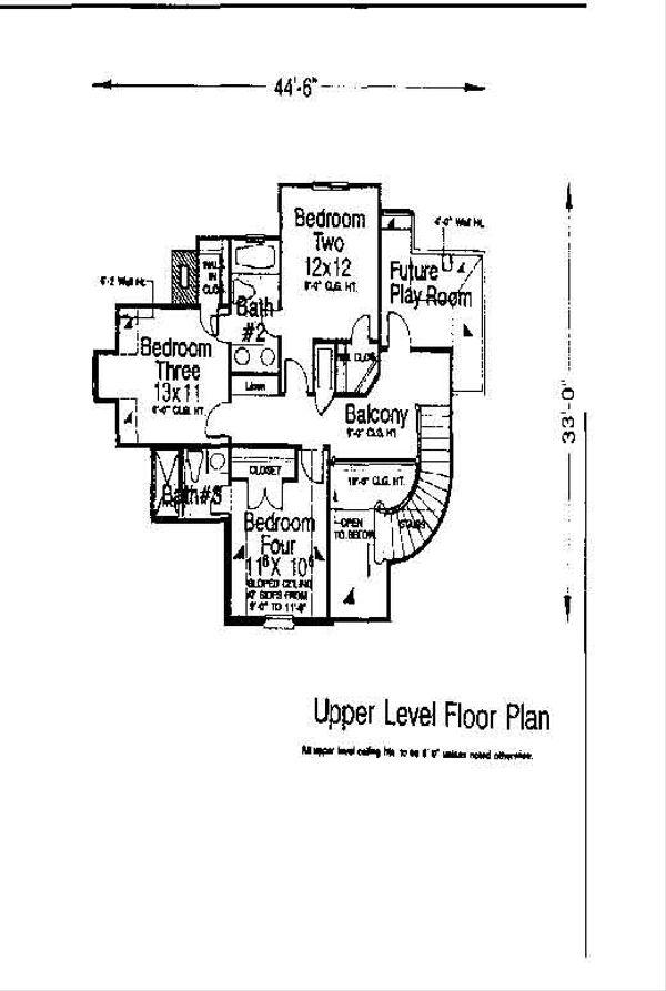 Colonial Floor Plan - Upper Floor Plan #310-726