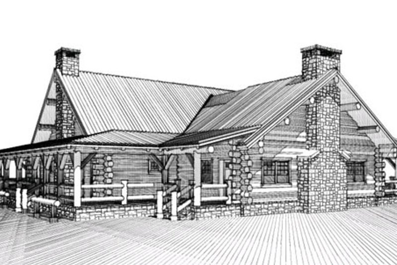 Log Style House Plan - 4 Beds 4.5 Baths 2620 Sq/Ft Plan #451-6 Exterior - Front Elevation