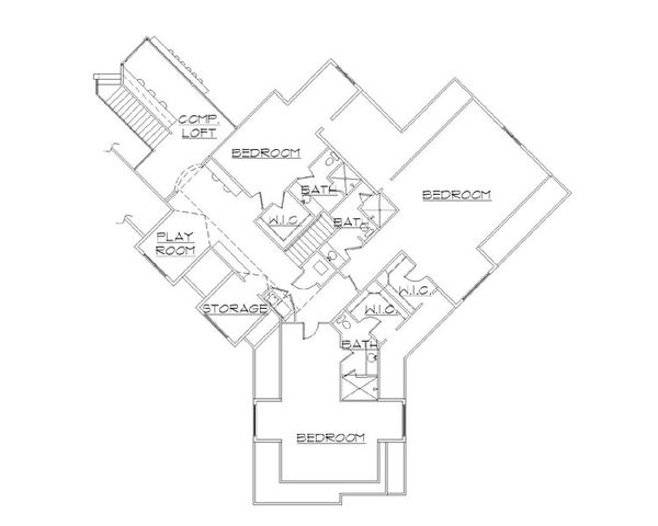 European Floor Plan - Upper Floor Plan Plan #5-454
