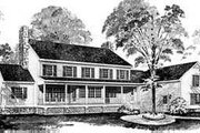 Colonial Style House Plan - 3 Beds 4 Baths 3412 Sq/Ft Plan #72-182 Exterior - Rear Elevation