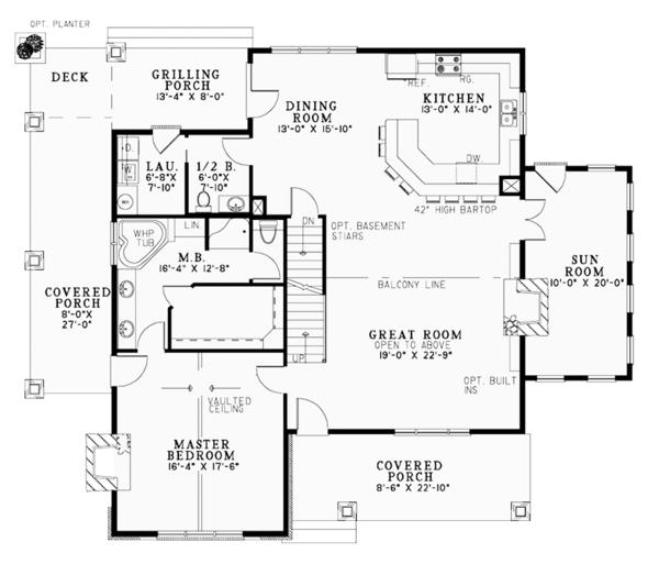 Country Floor Plan - Main Floor Plan #17-3381