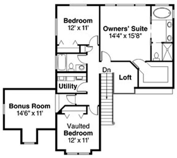 Modern Floor Plan - Upper Floor Plan Plan #124-714