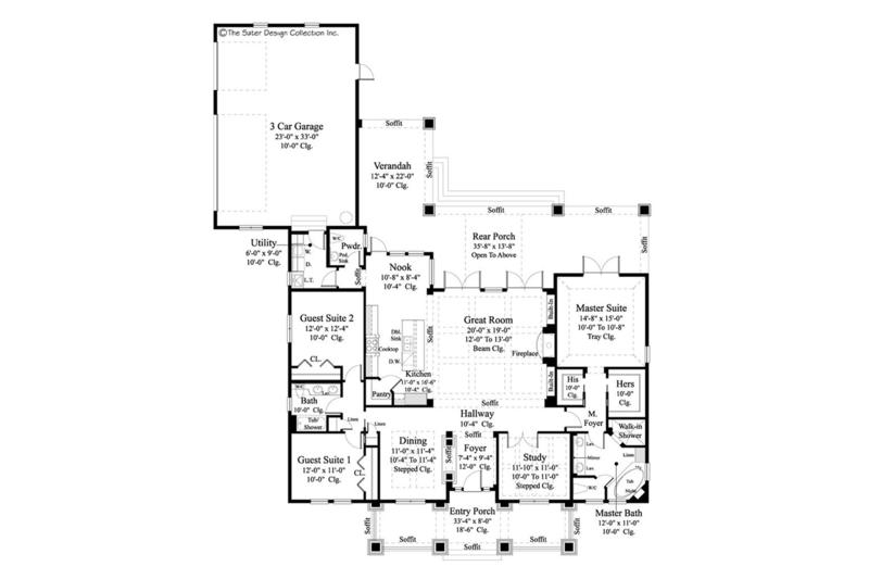 Craftsman Floor Plan - Main Floor Plan Plan #930-462