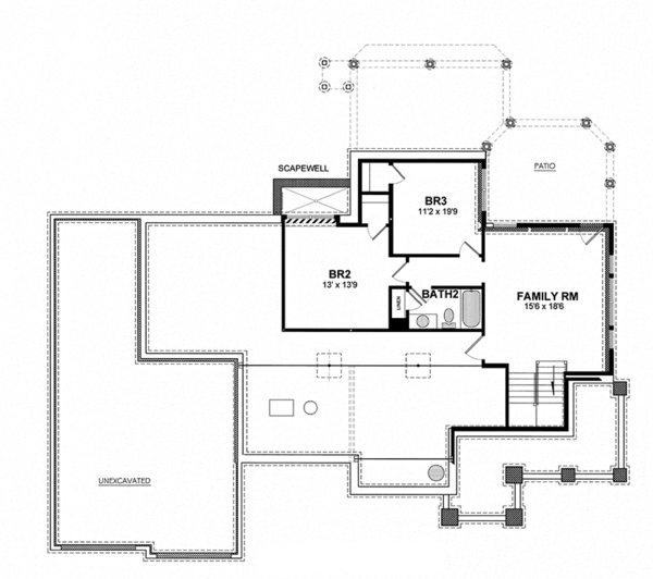 Ranch Floor Plan - Lower Floor Plan Plan #316-288