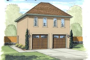 European Exterior - Front Elevation Plan #455-70