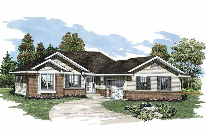 Ranch Exterior - Front Elevation Plan #47-791
