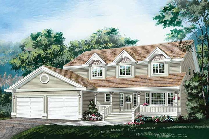 House Blueprint - Country Exterior - Front Elevation Plan #47-1018