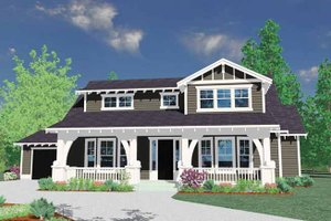 Architectural House Design - Prairie Exterior - Front Elevation Plan #509-240