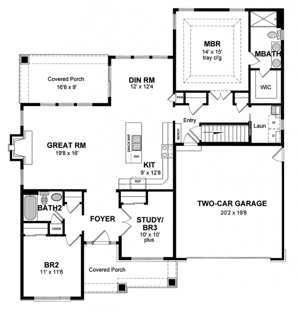 Ranch Floor Plan - Main Floor Plan Plan #316-284