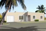 Adobe / Southwestern Style House Plan - 3 Beds 2 Baths 1097 Sq/Ft Plan #1-1050 Exterior - Front Elevation