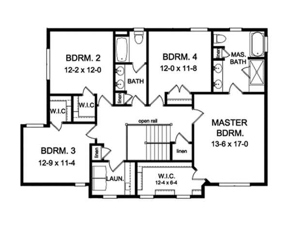 Traditional Floor Plan - Upper Floor Plan Plan #1010-136