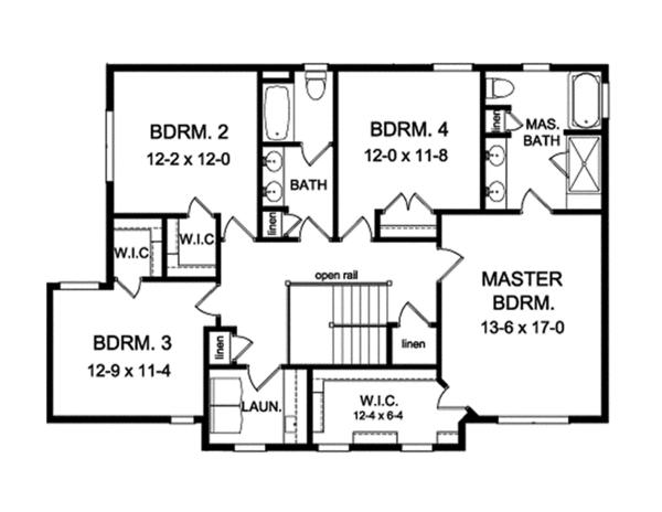 House Plan Design - Traditional Floor Plan - Upper Floor Plan #1010-136
