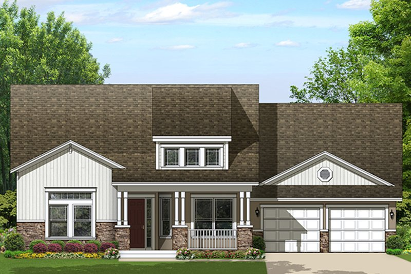 Ranch Exterior - Front Elevation Plan #1058-157