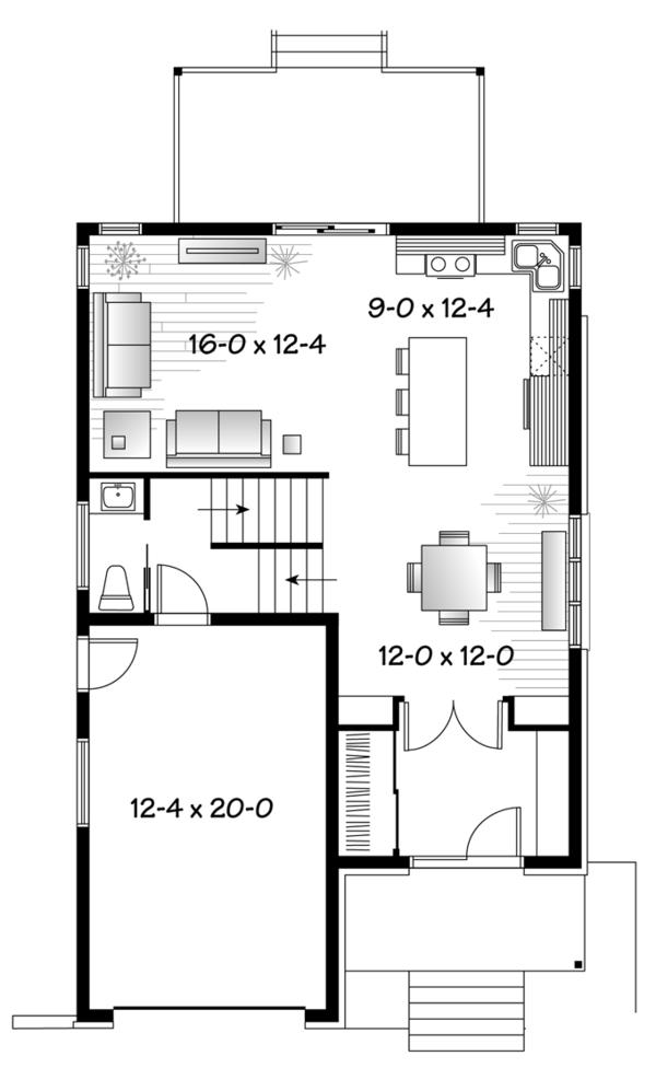 Contemporary Floor Plan - Main Floor Plan Plan #23-2481