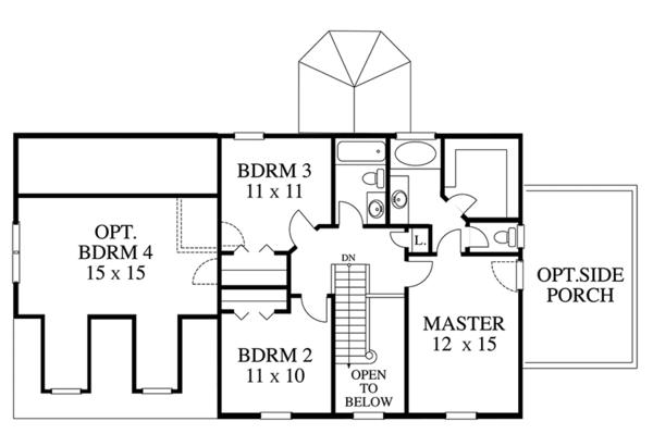 Colonial Floor Plan - Upper Floor Plan Plan #1053-74