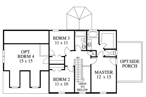 Colonial Floor Plan - Upper Floor Plan Plan #1053-74