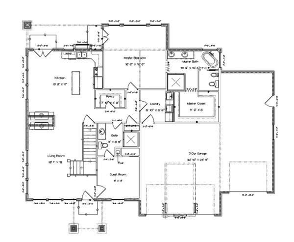 Ranch Floor Plan - Main Floor Plan Plan #1060-6