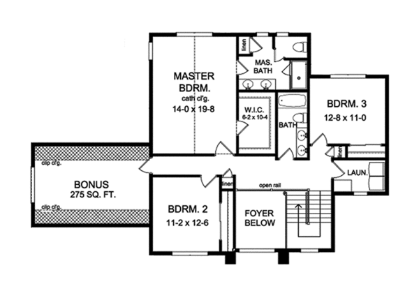 Traditional Floor Plan - Upper Floor Plan Plan #1010-133