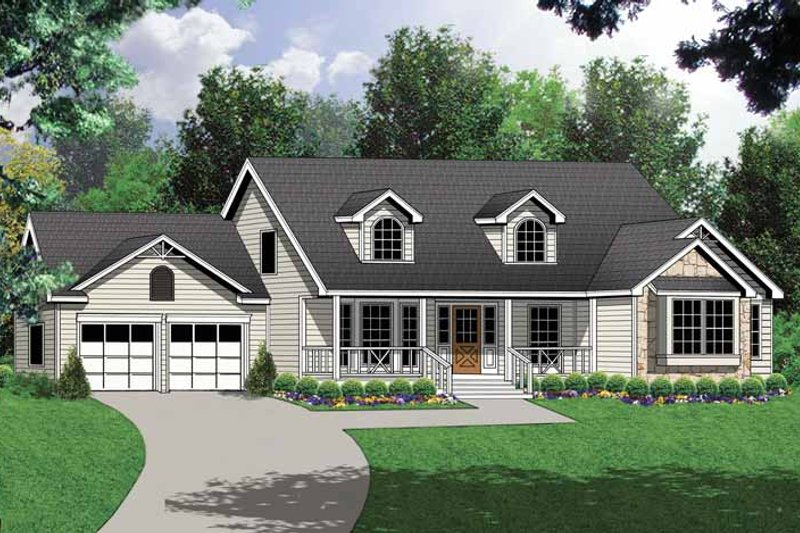 Country Exterior - Front Elevation Plan #40-443