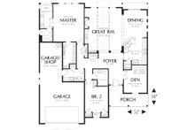 Main level floor plan - 1975 square foot Craftsman home