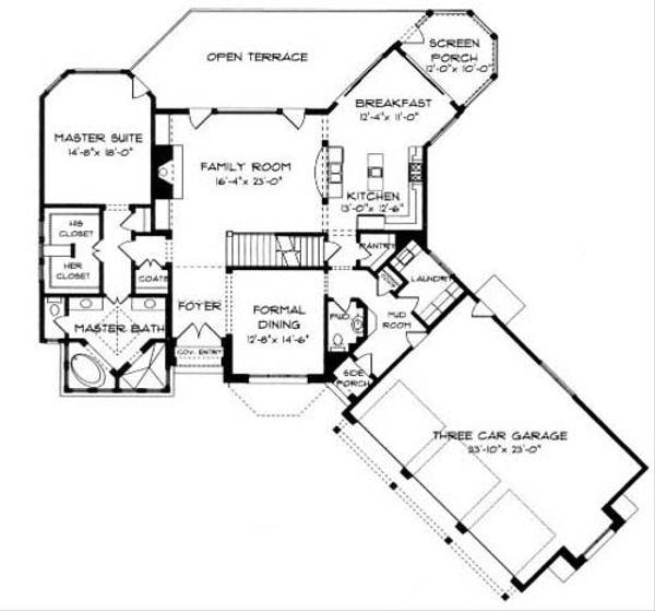 European Floor Plan - Main Floor Plan Plan #413-109