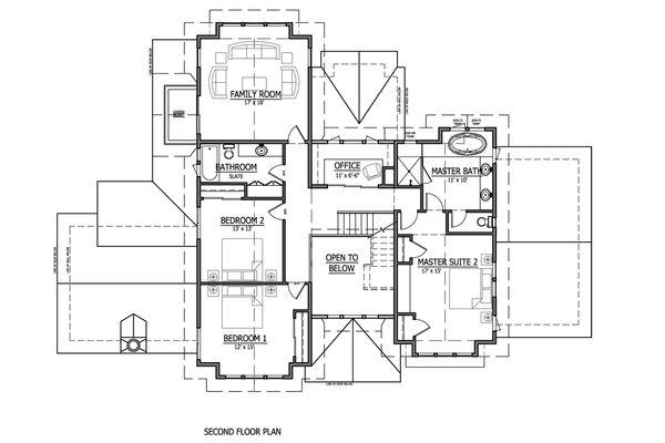 Craftsman Style House Plan - 4 Beds 2.5 Baths 3542 Sq/Ft Plan #899-1 Floor Plan - Upper Floor Plan