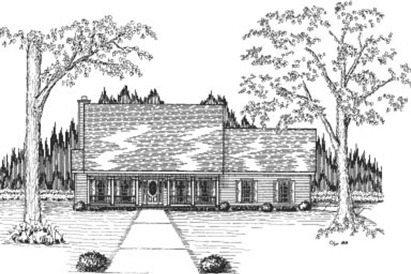 Traditional Style House Plan - 4 Beds 2.5 Baths 2044 Sq/Ft Plan #37-172 Exterior - Front Elevation