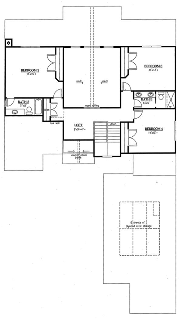 Country Floor Plan - Upper Floor Plan Plan #437-80