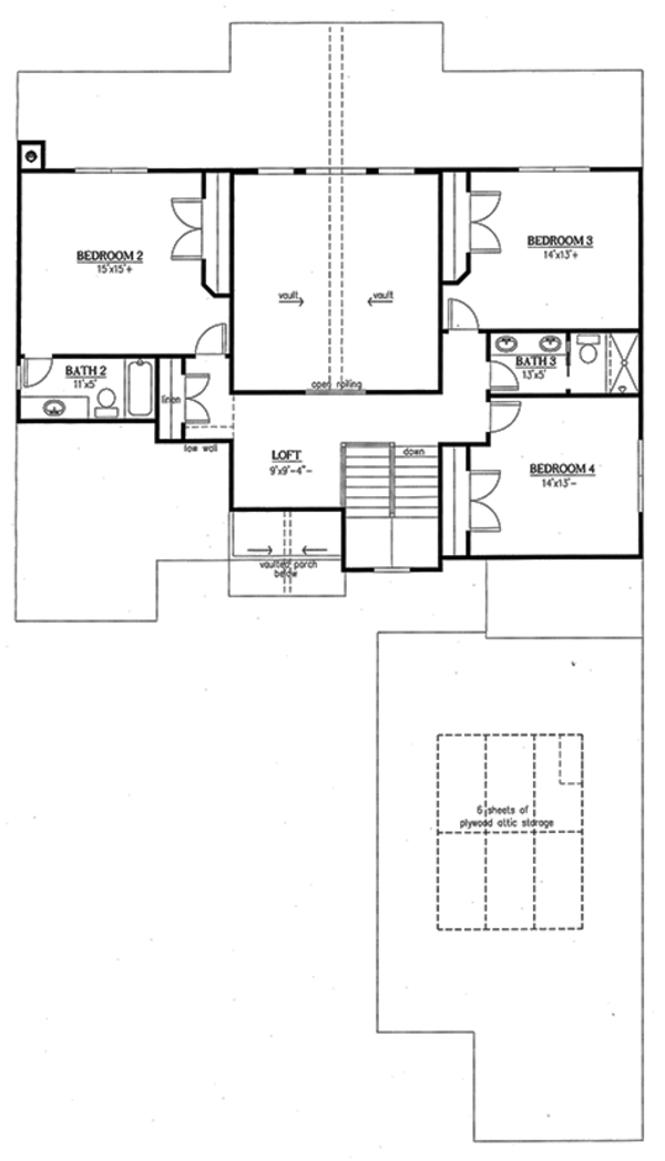 Country Floor Plan - Upper Floor Plan Plan #437-80