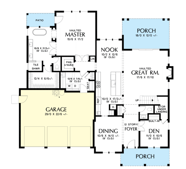 Farmhouse Floor Plan - Main Floor Plan #48-982
