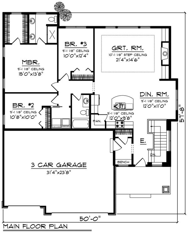 Ranch Floor Plan - Main Floor Plan Plan #70-1457