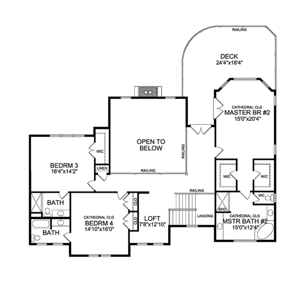 Craftsman Floor Plan - Upper Floor Plan Plan #314-294