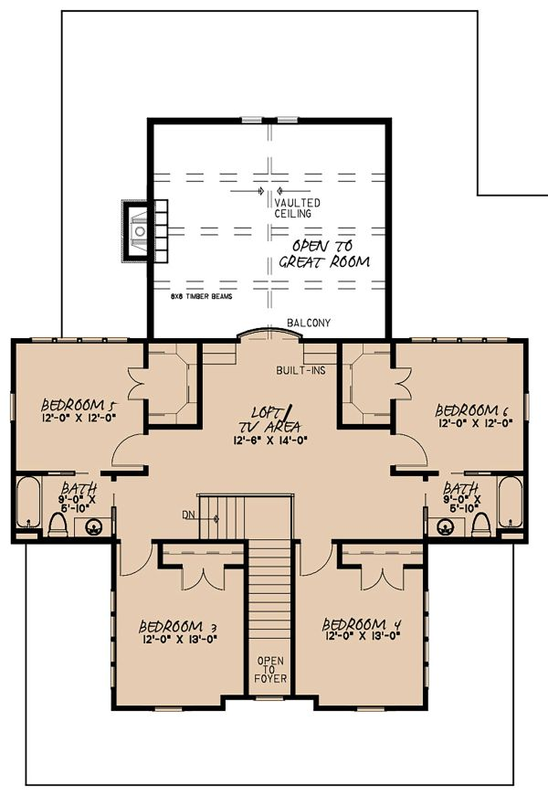 Country Floor Plan - Upper Floor Plan #923-134