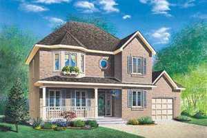 European Exterior - Front Elevation Plan #23-2130