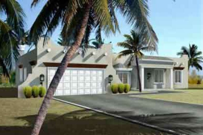 Adobe / Southwestern Style House Plan - 3 Beds 2 Baths 1823 Sq/Ft Plan #1-1358 Exterior - Front Elevation