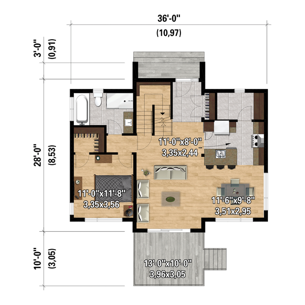 Dream House Plan - Cottage Floor Plan - Main Floor Plan #25-4921