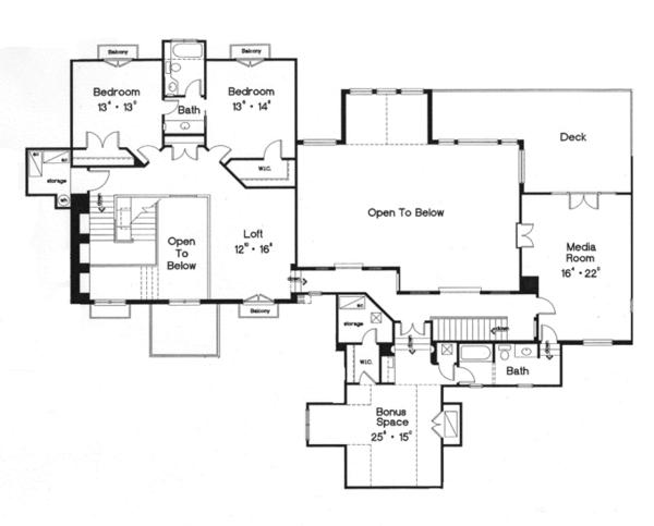 Mediterranean Floor Plan - Upper Floor Plan Plan #417-796