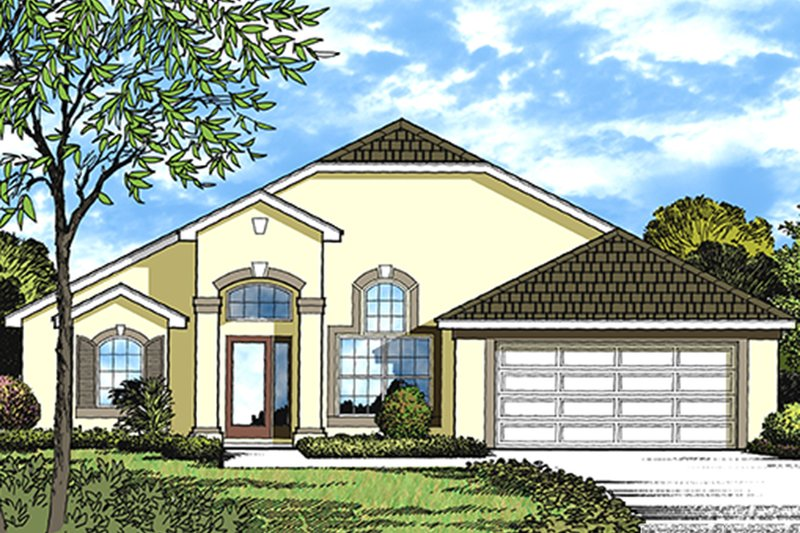 Architectural House Design - Mediterranean Exterior - Front Elevation Plan #417-818