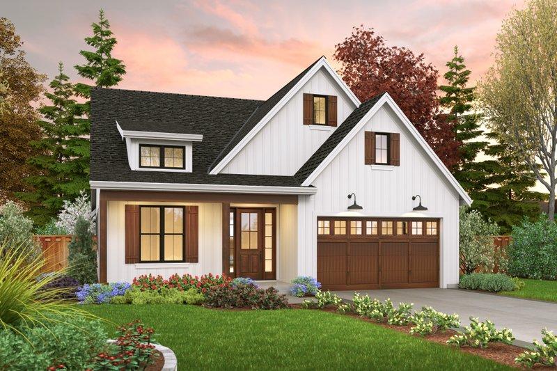 House Blueprint - Farmhouse Exterior - Front Elevation Plan #48-1041