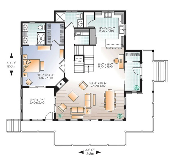 European Floor Plan - Main Floor Plan Plan #23-2627