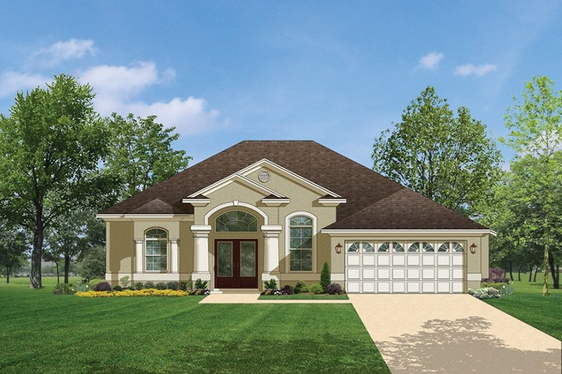 Mediterranean Exterior - Front Elevation Plan #1058-35 - Houseplans.com