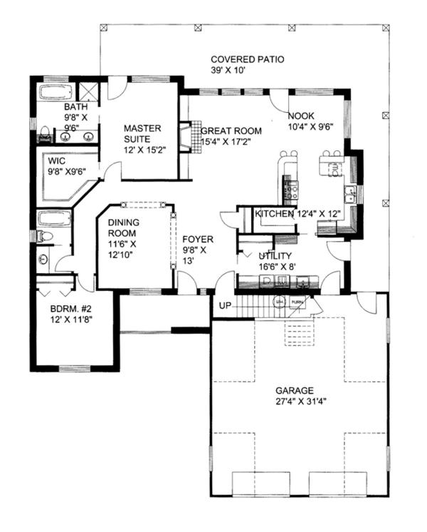 Ranch Floor Plan - Main Floor Plan Plan #117-854
